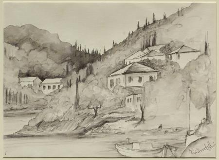 Pen and wash drawing of Kioni, Ithaca